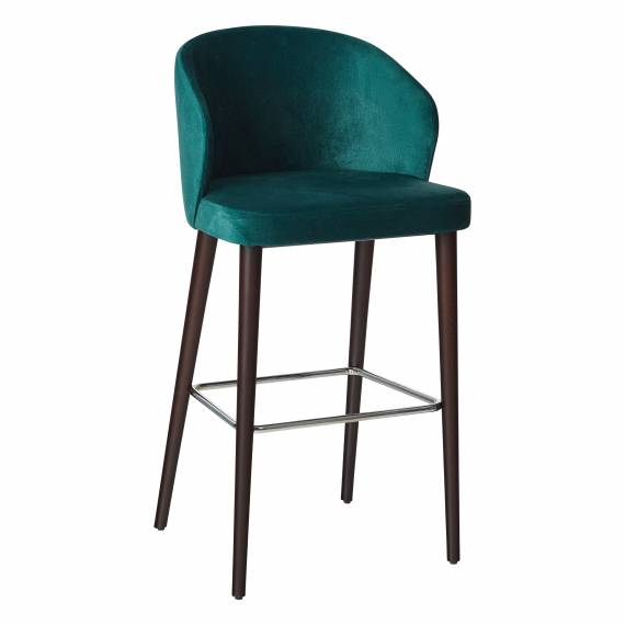 Fully Upholstered Solid Wood Pandora B Restaurant Bar Stool with Arm