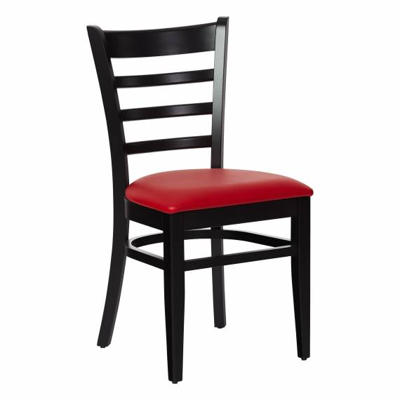 Commercial Solid Wood LADDERBACK BLACK Restaurant chair with an upholstered seat