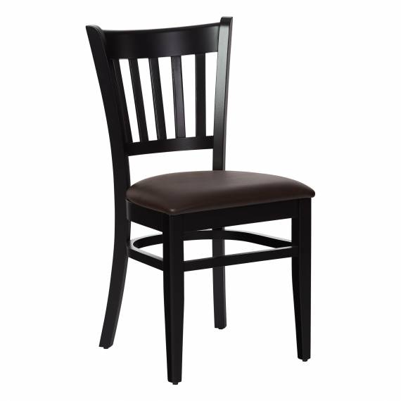 Solid Wood Upholstered Seat Houston P Vertical-Back Commercial Chair