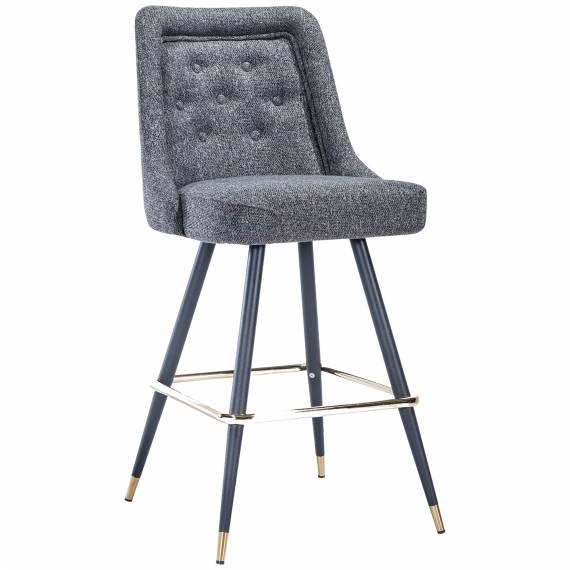 Fully Upholstered Tufted Back JMB-001B Metal Restaurant Bar Stool