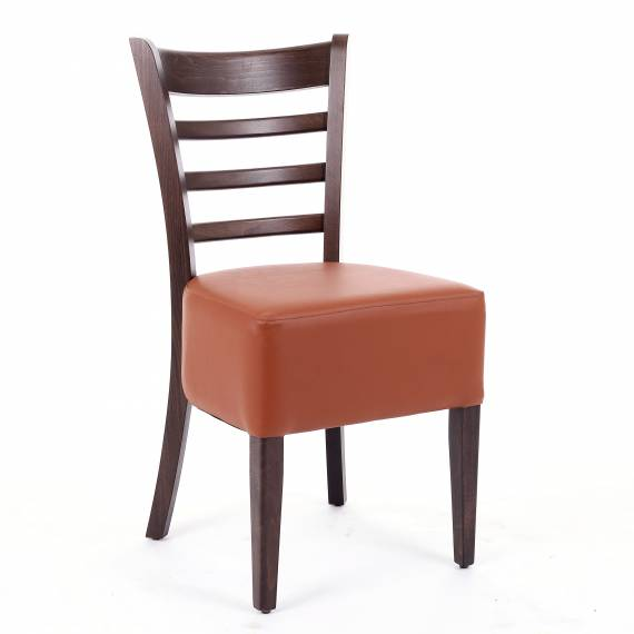 Elegant LADDERBACK DP RESTAURANT Wood CHAIR with deep upholstered seat